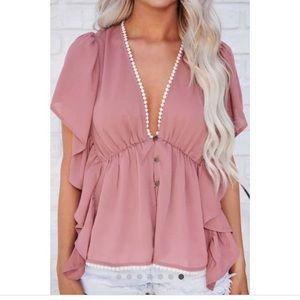 Boho plunging blouse